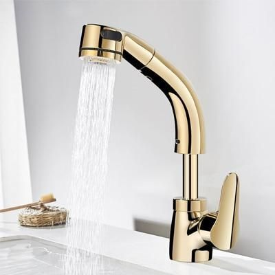 360 Degree Pull Out Lift Up Down Sink Faucet Golden Finished In 2021 Sink Faucets Bathroom Sink Faucets Bathroom Sink