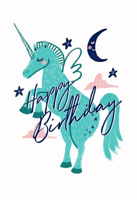 Turquoise Unicorn Happy Birthday Card Unicorn Birthday Cards