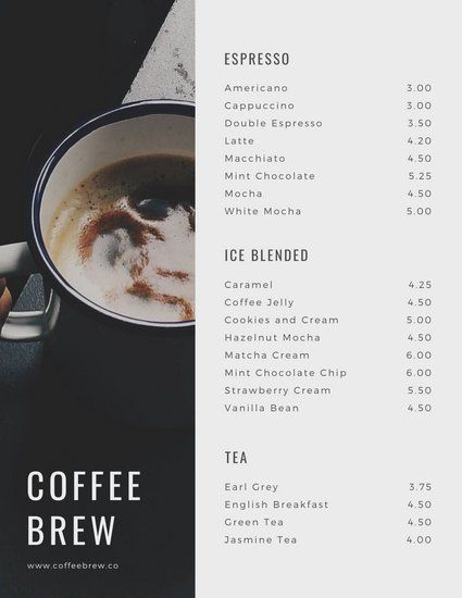 Mint Coffee Shop Menu Templates By Canva Coffee Shop Menu Cafe Menu Design Coffee Menu Design
