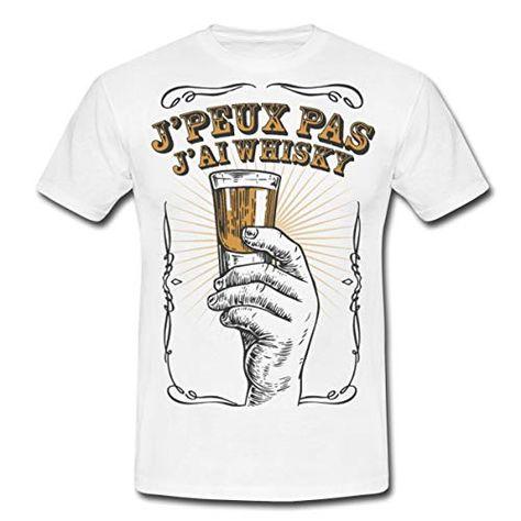 J'Peux Pas J'Ai Whisky T-Shirt Homme L Blanc