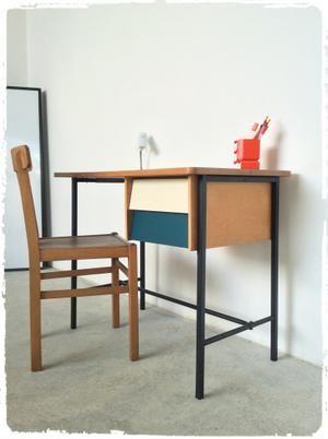 Bureau Vintage Moderniste Pieds Metal Formica Revisite Mobilier Decoration Vintage Deco Vintage