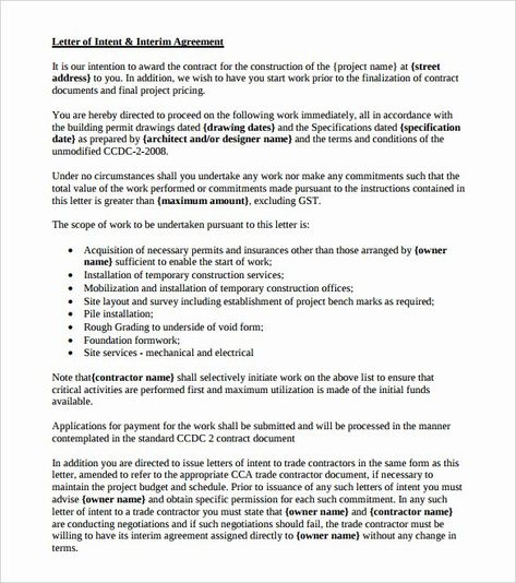 Construction Letter Of Intent Template New Free Intent Letter Templates 18 Free Word Pdf Letter Of Intent Letter Templates Letter Writing Template