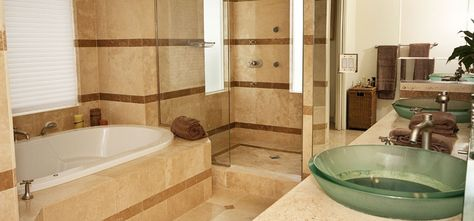Modern Master Bathroom with Limestone, frameless showerdoor, Double sink, Master bathroom, Vessel sink, Limestone counters