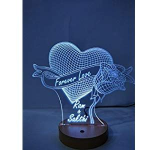 Designelle Acrylic Personalized 3d Illusion Led Lamp Single Colour Wooden 8x10 Inch Diy Gifts For Boyfriend Online Gifts Romantic Gifts For Girlfriend