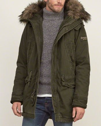 Shop Abercrombie & Fitch Mens Parka Jackets - Warm up this season with our sherpa lined full length parkas.