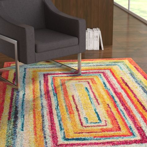 Horace Labyrinth Redyellow Area Rug Rugs