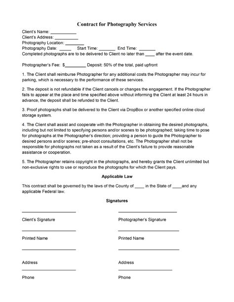 Photography Contract Template Pertaining To Photography