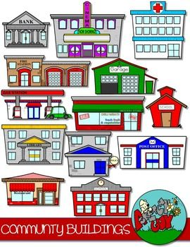 Community Buildings Clip Art Community Building Community Helpers Theme Places In The Community