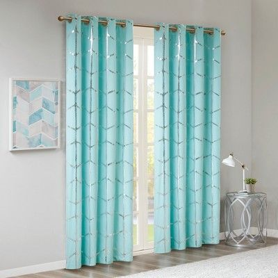50 X84 Arielle Blackout Metallic Printed Curtain Panel Aqua Panel Curtains Stylish Curtains Home Essence