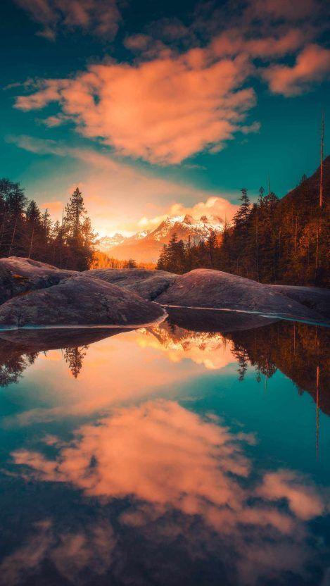 Nature Sunset Clouds Reflection iPhone Wallpaper Free – GetintoPik