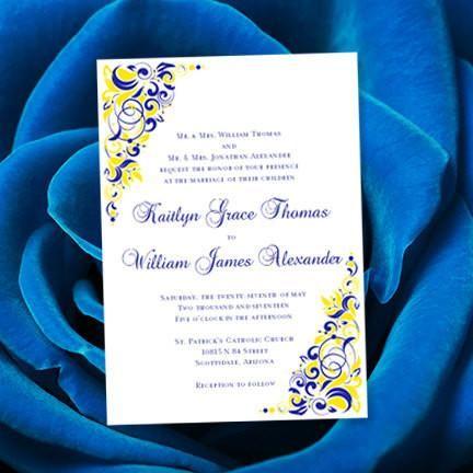 Gianna Wedding Invitation Royal Blue Lemon Yellow Royal Blue Wedding Invitations Yellow Wedding Invitations Blue Yellow Weddings