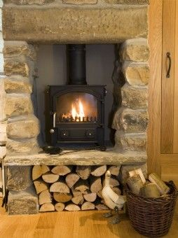 To Elevate The Wood Stove Hearth With Log Storage Surround Is Unnecessary