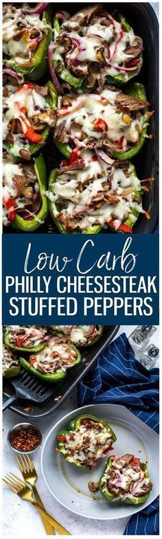 These Philly Cheesesteak Stuffed Peppers are a delicious low-carb spin on the classic sandwich and a tasty dinner idea you can prep ahead of time!