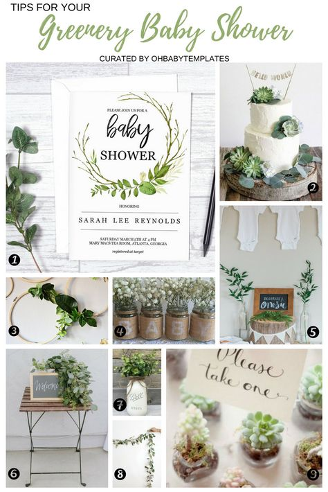 Greenery Baby Shower ideas, printable baby shower invitation, succulent shower favors, mason jar decor!