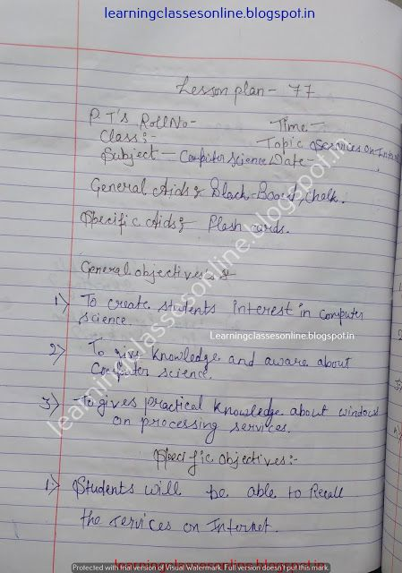 Computer Science Teaching Lesson Plan Practical File B Ed