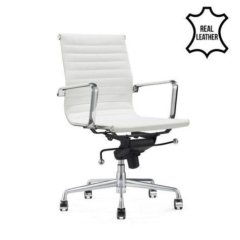 Design Bureaustoel Wit.Bureaustoel Valencia Wit 100 Leder Wit Leder Voor Het Huis