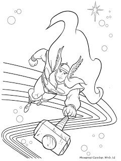 Thor Halaman Mewarnai Thor Buku Mewarnai