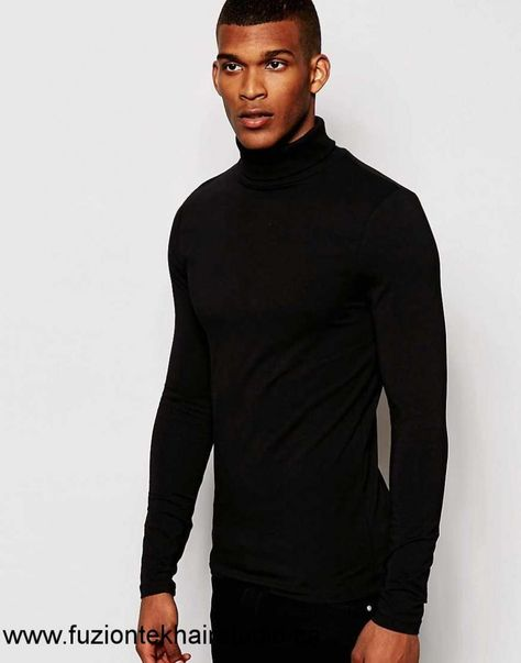 a342ff83 2017 Men / Women Asos Extreme Muscle Long Sleeve T-shirt With Roll Neck In  Black JN90400970