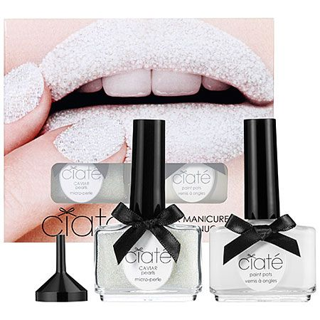 New Ciate caviar manicure in snow virgin/caviar pearls in Mother of Pearl...This looks so awesome!!!!