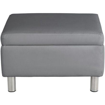 Buy Argos Home Moda Faux Leather Storage Footstool Grey