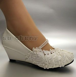 White Light Ivory Lace Wedding Shoes Flat Low High Heel Wedges Bridal Size 5 12 Wedding Shoes Lace Bridal Shoes Low Heel Wedding Boots