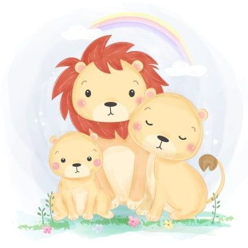Adorable Lion Family Illustration In Watercolor Style Lion King Clipart Adorable Animal Png And Vector With Transparent Background For Free Download Family Illustration Lion Illustration Lion Family