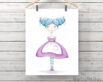 Articles Similaires A Aquarelle Art Parietal Enfants Demoiselle