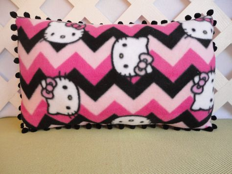 Hello Kitty Chevron Pillow Hot Pink, Pale Pink, Black Handmade by JRsPillowsandBags on Etsy