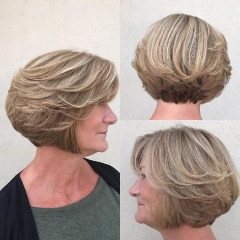 Layered Ash Blonde Bob For Older Women For More Style Inspiration Visit 40plusstyle Com Cool Hairstyles Short Bob Haircuts Haircut For Older Women