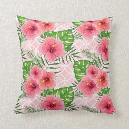Tropical Pink Flowers Throw Pillow Zazzle Com Throw Pillows
