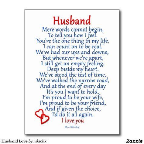Husband Love Postcard                                                       …