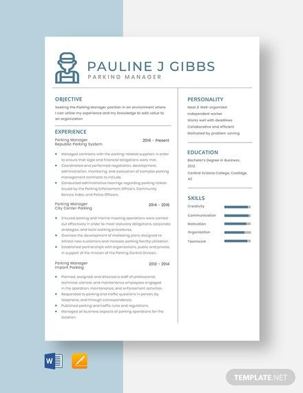 Parking Manager Resume Cv Template Word Apple Pages Manager Resume Cv Template Word Resume Template