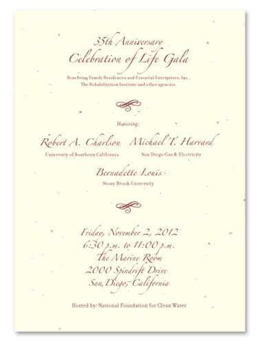 Unique Gala Invitations ~ Elegant Fundraising *plantable Gala - Formal Business Invitation