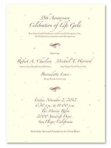 Unique Gala Invitations ~ Elegant Fundraising *plantable Gala