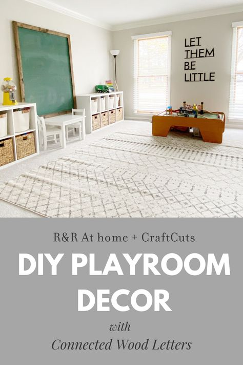 We collaborated with Rebecca from R&R At Home on making custom Connected Wood Letters to up her Playroom Decor game and transform the space. Playroom Paint, Playroom Flooring, Playroom Wall Decor, Playroom Storage, Playroom Furniture, Playroom Ideas, Playroom Table, Small Playroom, Furniture Ideas