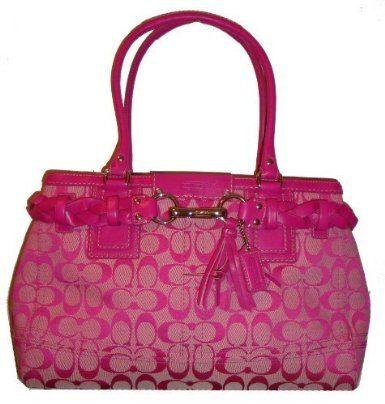575fd9f76993a Amazon.com  Women s Coach Purse Handbag 13068 Hampton Signature Large Carry  All Hibiscus pink  Clothing
