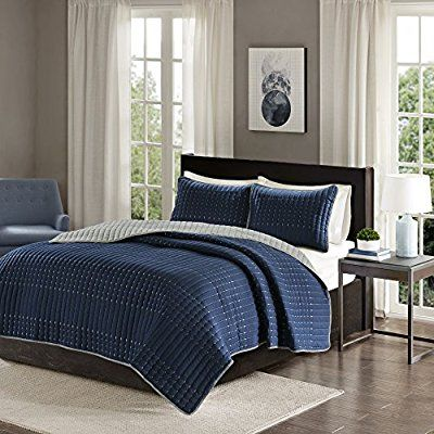 Amazon Com Comfort Spaces Reversible Full Queen Quilt Set Navy Blue And Gray 3 Piece Bayley Mini Quilt Set Reverse Coverlet Set Quilted Coverlet Coverlets