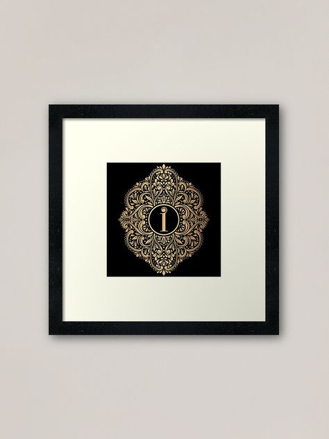 Personalized Monogram With Initial Letter I Gold And Black Luxury Leaf Pattern Framed Print By Annartlab Framed Art Prints Framed Art Art Prints