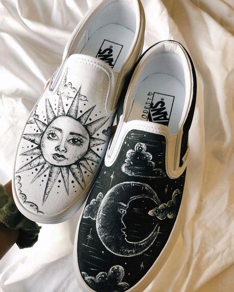 another completed pair ☼ ☽ order in the DMs! website coming soon Custom Slip On Vans, Custom Vans Shoes, Custom Painted Shoes, Painted Vans, Creative Shoes, Unique Shoes, Tulle Poms, Tulle Tutu, Vans Shoes Fashion