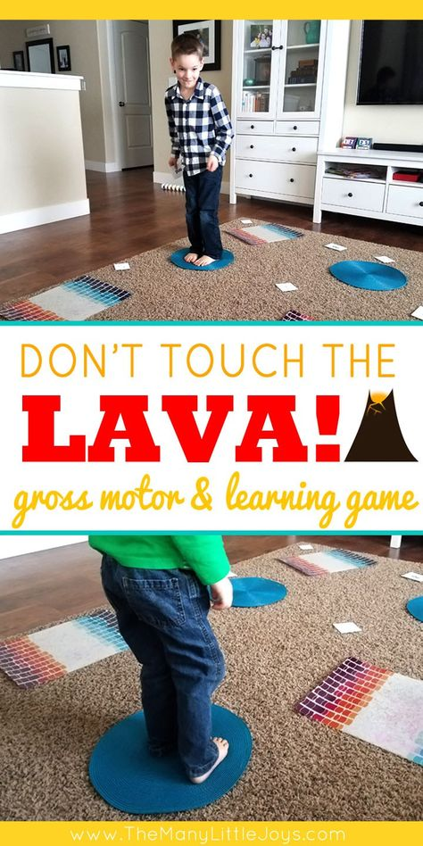 """Don't Touch the Lava! (preschool learning game Little boys love anything dangerous…and if you can't beat 'em, join 'em! This engaging preschool learning game is a great way to get kids to practice academic skills in the context of a """"death-defying"""" chall Learning Games For Preschoolers, Gym Games For Kids, Toddler Learning Activities, Indoor Activities For Kids, Home Activities, Educational Activities, Preschool Movement Activities, Toddler Games, Kids Fun"""