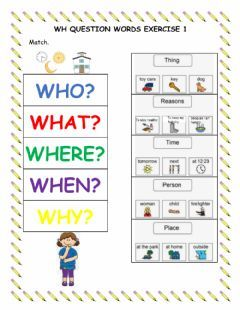 Wh Question Words Exercise 1 Language: English Grade/level ...