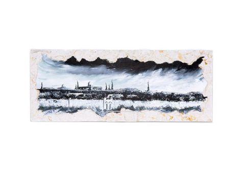 JERUSALEM Skyline Contemporary Watercolor Abstract ART Print by Artist DJR
