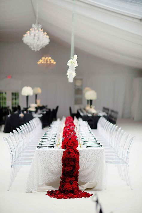 gorgeous white wedding head table with vibrant red floral table runner! ~  we ❤ this! moncheribridals.com
