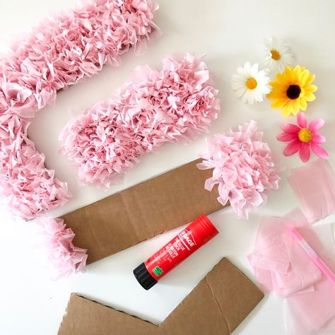 Oct 2019 - Easy Tissue Paper Wall Letters – Make it Laura Tissue Paper Flowers Easy, Tissue Paper Decorations, Paper Flowers Craft, Paper Flower Wall, Paper Flower Tutorial, Diy Party Decorations, Paper Roses, Flower Crafts, House Decorations