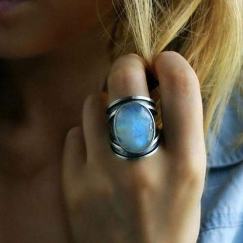 Tibetan Rainbow Moonstone Statement Ring