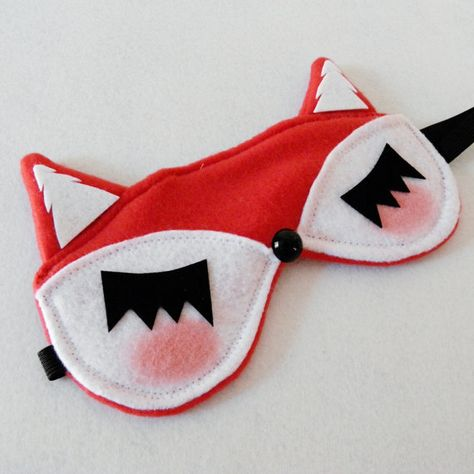 EEK I'm in Love! I need to fly more and wear this all the time....Lady FOX Sleep Mask Red Sleepmask by emandsprout
