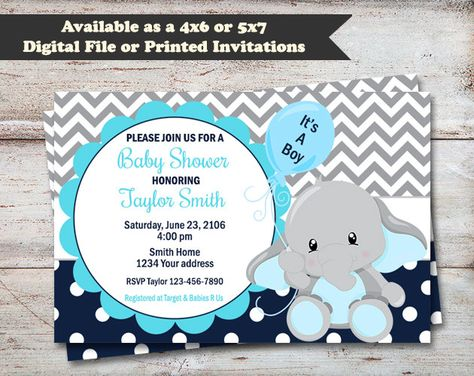 Elephant Baby Shower Party Invitations, Elephant Baby Shower, Elephant, Chevron Print, Polka Dots, Elephant Invitations, Printed or Digital by PartiesR4Fun on Etsy