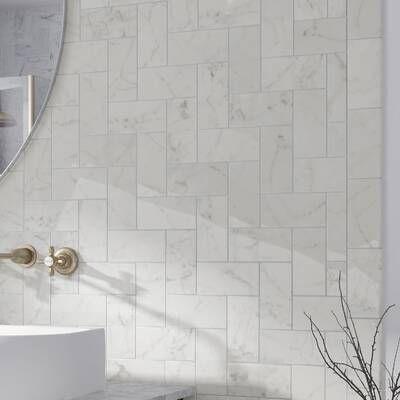 Arabescato Carrara 12 X 24 Marble Stone Look Wall Floor Tile In 2020 Ceramic Subway Tile Tile Bathroom Subway Tile