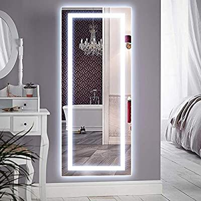 Amazon Com Qimh Vertical 47x22 Inch Wall Mounted Led Lighted Vanity Mirror With Aluminum Frame Backlit In 2020 Body Mirror Floor Length Mirror Lighted Vanity Mirror