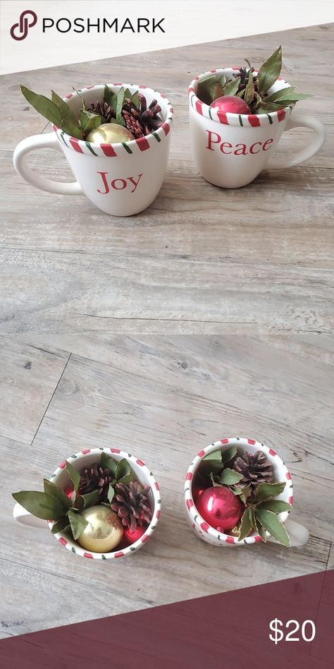 Joy & Peace Christmas decorations 🎄 Gorgeous Christmas decorations, I personally put these together 🙏 Two Christmas cups with some gold encrusted leaves, pine cones, and Christmas ornaments inside 😍  •|